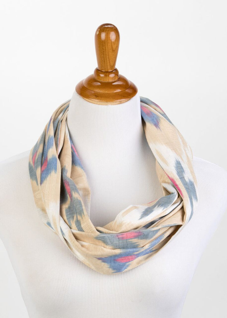 Silk Ikat Infinity Scarf in Blue and Cream
