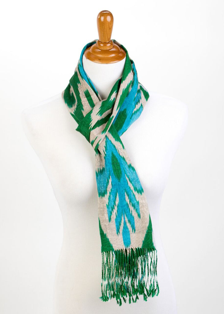 """Prytania"" Silk Ikat Scarf in Green and Turquoise"