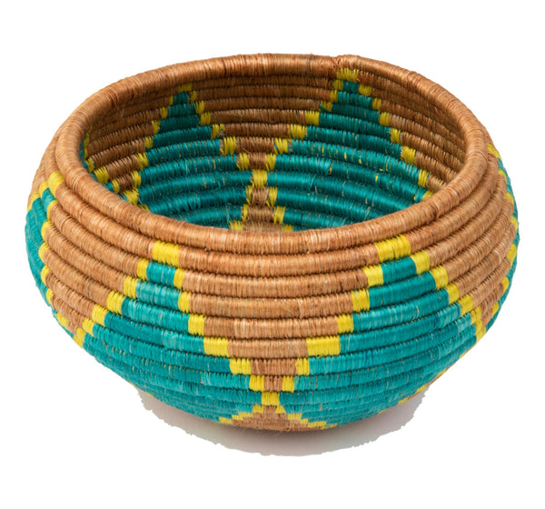 """Joy"" Basket/ Bowl from Rwanda, in Wheat, Yellow, Teal"