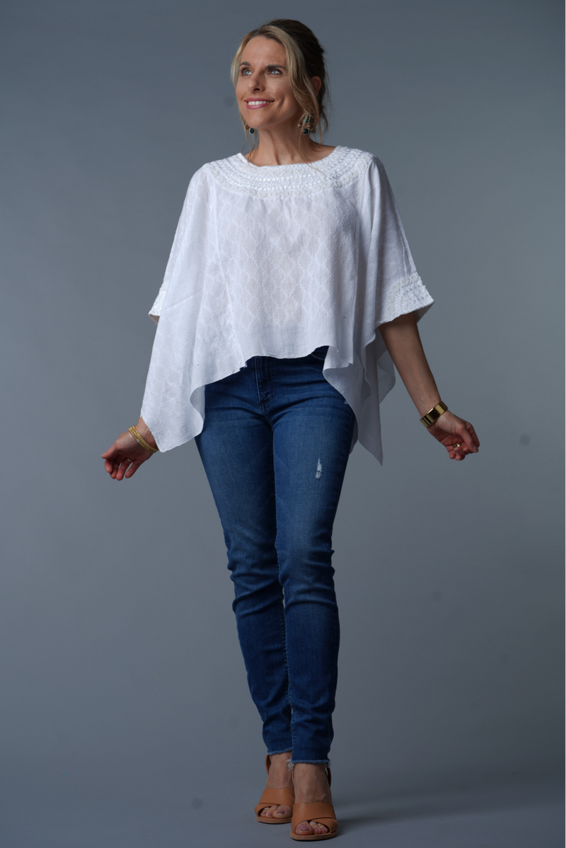 white hand embroidered tunic blouse front