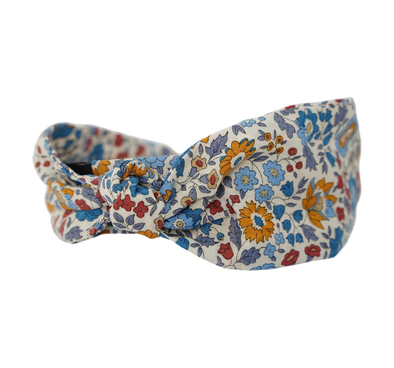 Wide Band Liberty of London Headband - Mustard, Blues, Persimmon