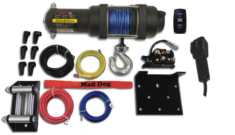 Mad Dog 4500 lb. WIDE Synthetic Rope ATV/UTV Winch w/ Winch Mount Plate