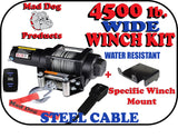 Mad Dog 4500 lb. WIDE Steel Cable ATV/UTV Winch w/ Winch Mount Plate