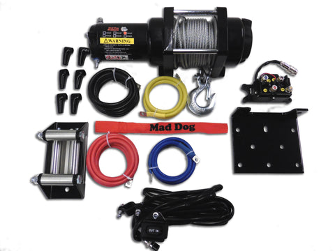 Mad Dog 2500 lb. Steel Cable ATV/UTV Winch w/ Winch Mount Plate