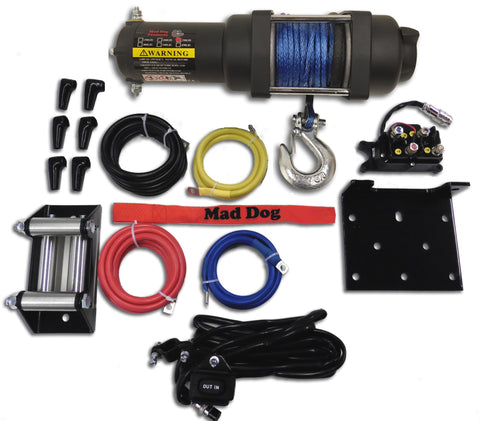 Mad Dog 3500 lb. Synthetic Rope ATV/UTV  Winch w/ Winch Mount Plate