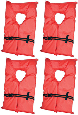 Four Type II Life Jackets w/ Kent Stowage Bag