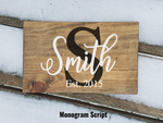 Monogram Script wood sign