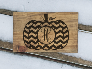 Monogram Pumpkin Wood Signs