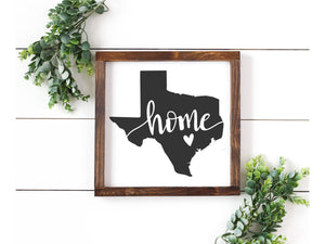 Texas Home Wood Sign