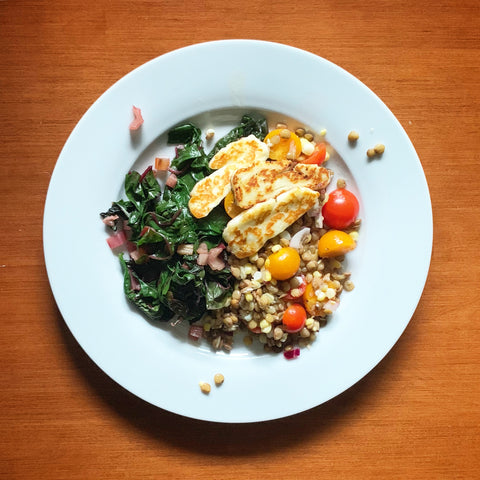Sweet Corn and Lentil Salad with Grilled Halloumi