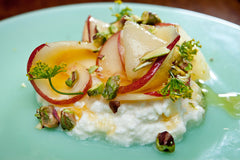 peaches with pistachios and ricotta