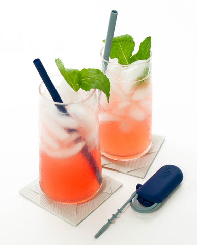 2 Pack Silicone Straw Sets