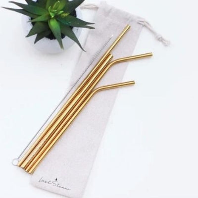 Reusable Straw Sets in Linen Pouch w/ Brush