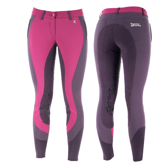 Horze Kiana Full Seat Breeches in Pink/Purple