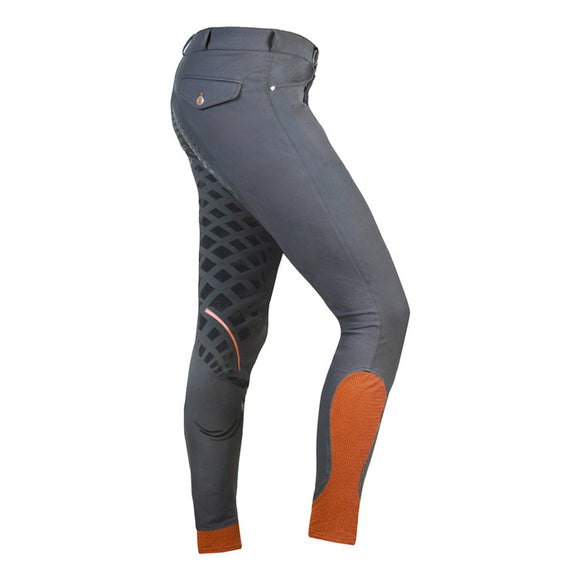 Shockemohle Leo Grip Men's Full Seat Breeches in Grey/Orange