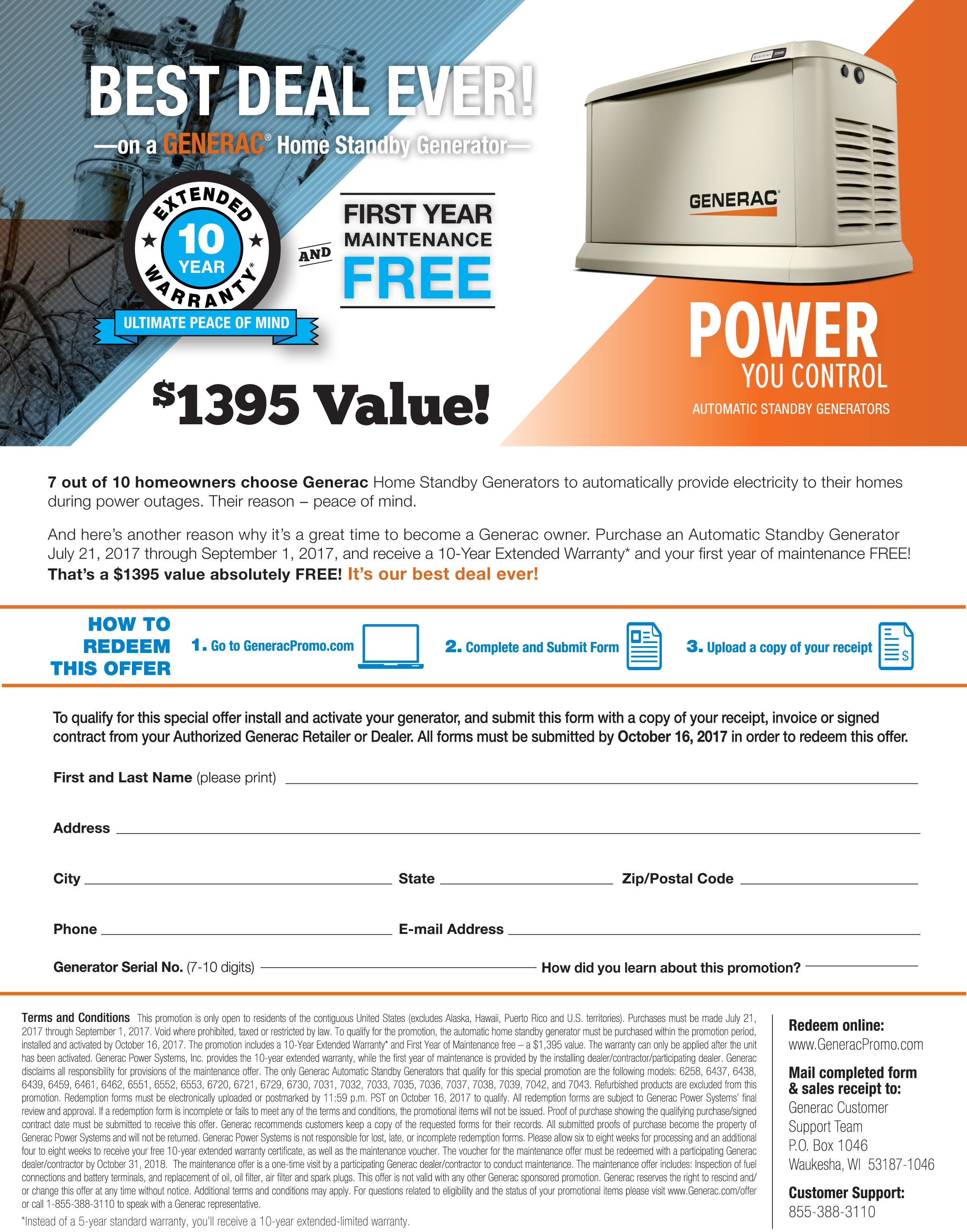 Generac Free 10 Year Extended Warranty & First Maintenance Free