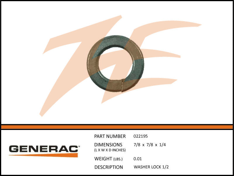 Generac 022195 Lock Washer 1/2