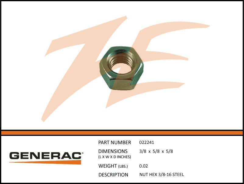 Generac 022241 Hex Nut 3/8-16 Steel
