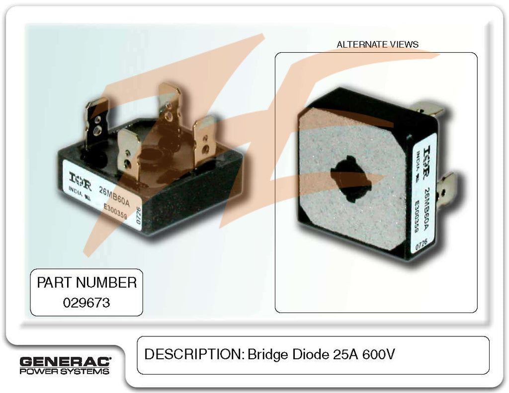 Generac 029673 Bridge Diode 25A 600V