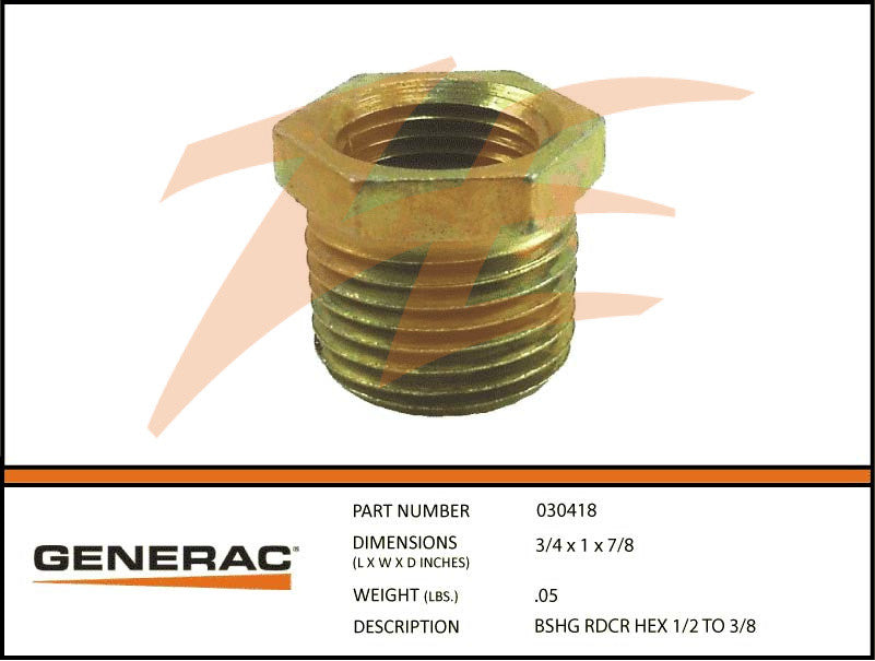 Generac 030418 Reducer Bushing Hex 1/2 to 3/8