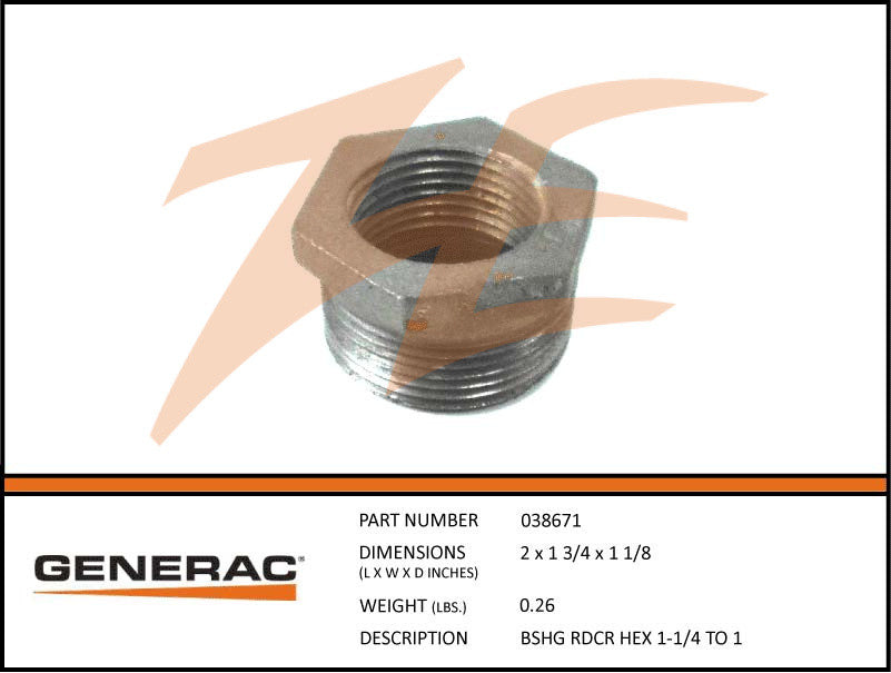 Generac 038671 Reducer Bushing Hex 1-1/4 To 1