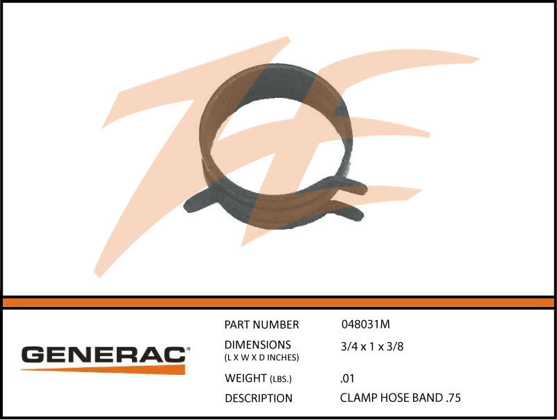 Generac 048031M Hose Clamp Band .75