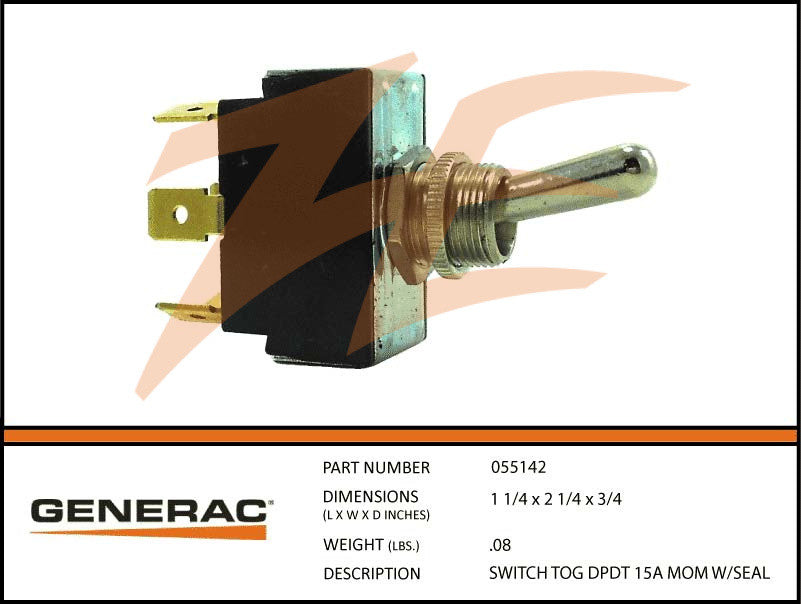 Generac 055142 Toggle Switch DPDT 15A Momentary w/Seal