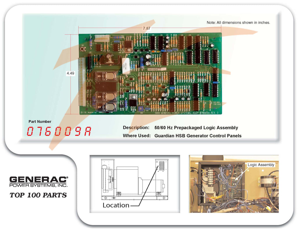 076009A / 076009ASRV PCB 50/60 Hz Prepack Logic Assembly