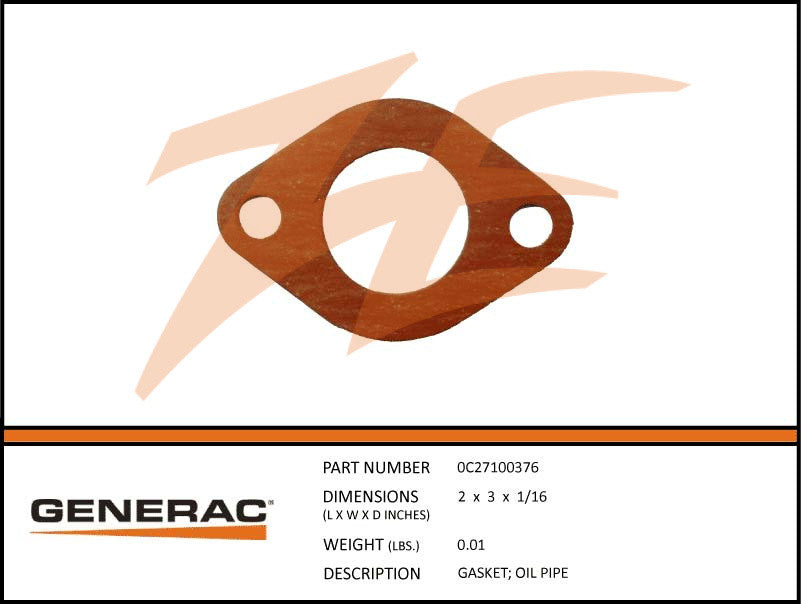 Generac 0C27100376 Oil Pipe Gasket