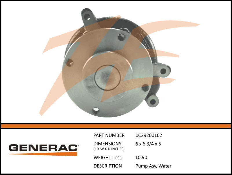 Generac 0C29200102 Water Pump Assembly