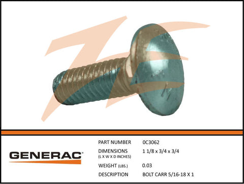 0C3062 Carriage Bolt 5/16-18 X 1