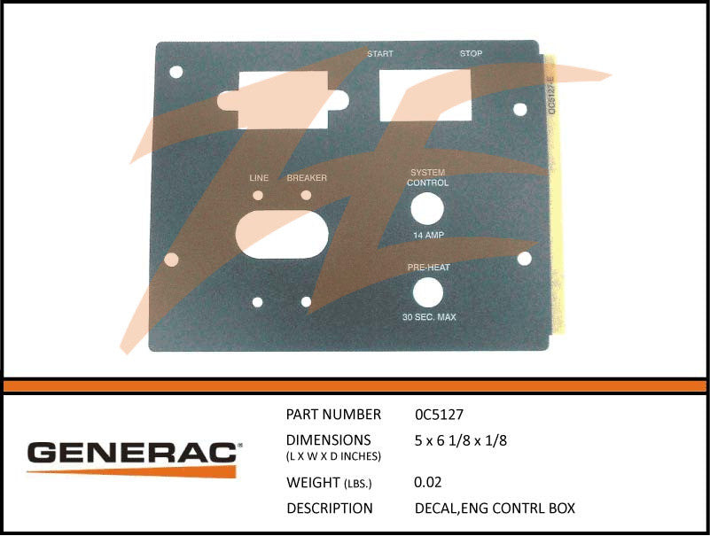 0C5127 Engine Control Box Decal