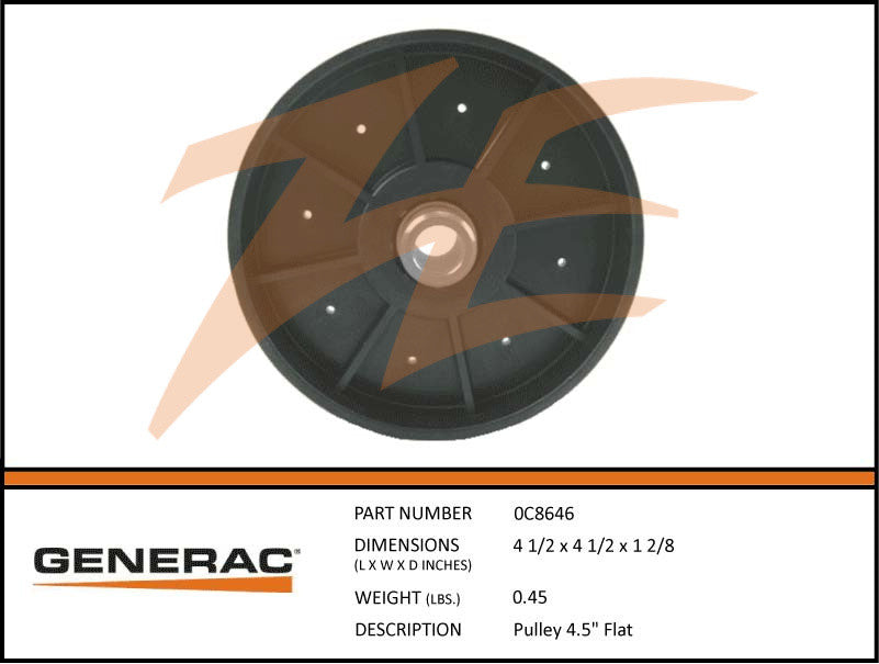 "0C8646 Pulley 4.5"" Flat"