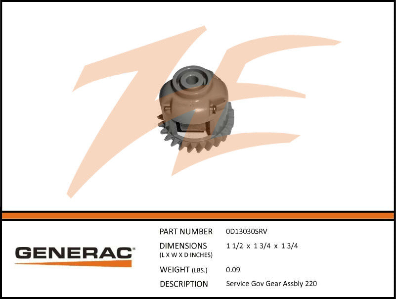Generac 0D13030SRV Governor Gear Assembly GT220