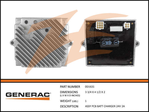 Generac 0D1631 Battery Charger 24V 2A PCB Assembly