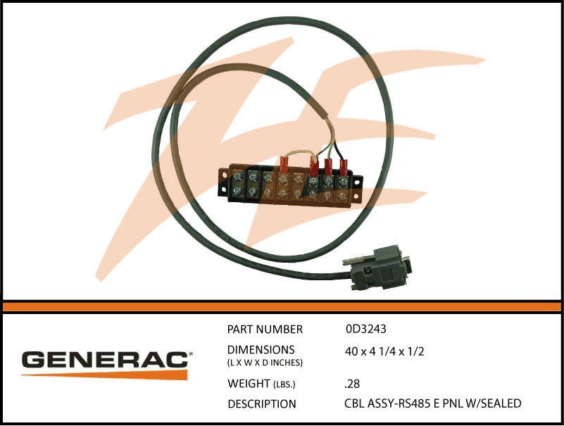 Generac 0D3243 Cable Assembly RS485 E Panel