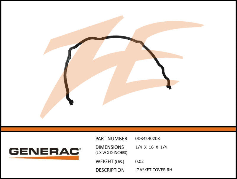 Generac 0D34540208 Cover Gasket Right