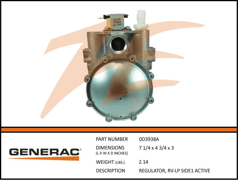 Generac 0D3938A Fuel Regulator RV LP
