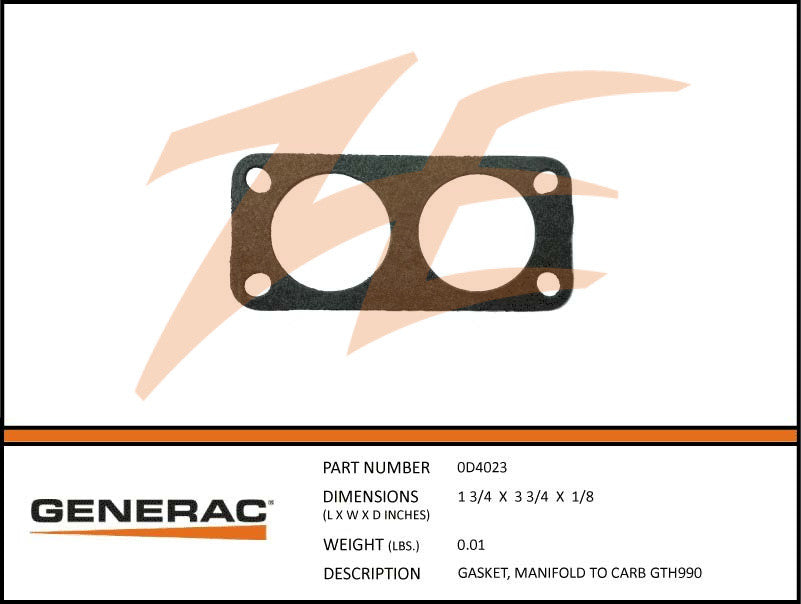 Generac 0D4023 Manifold to Carb Gasket GT 990