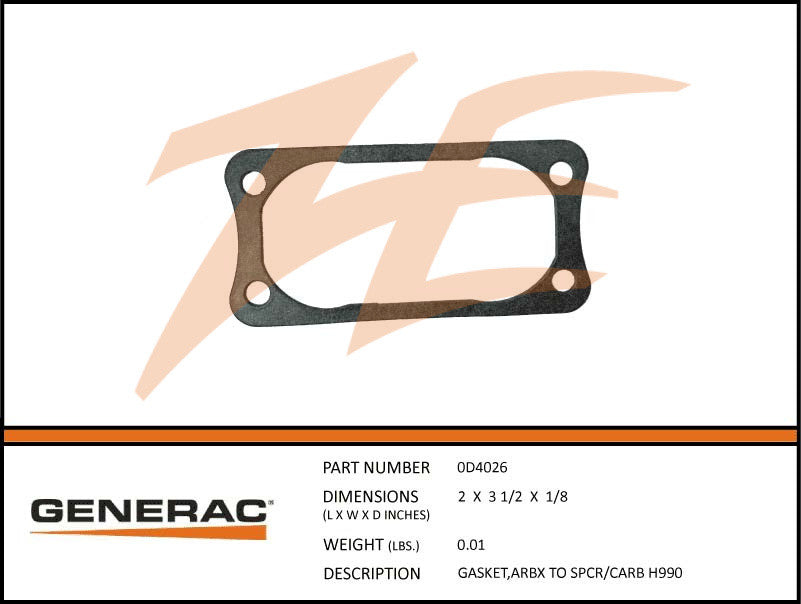 Generac 0D4026 Airbox To Spacer/Carb Gasket GT 990