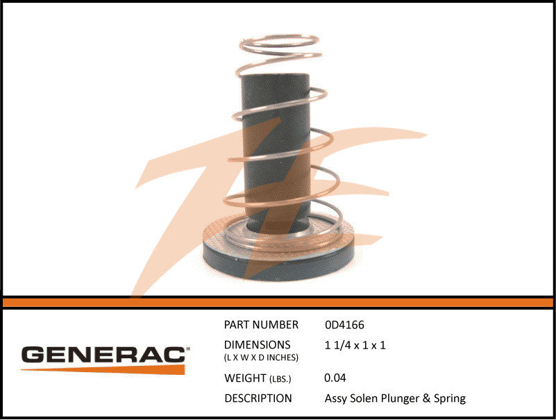 Generac 0D4166A Fuel Regulator Solenoid Spring and Plunger Assembly