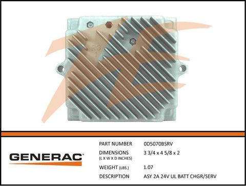 Generac 0D5070BSRV 2A 24V Battery Charger Assembly