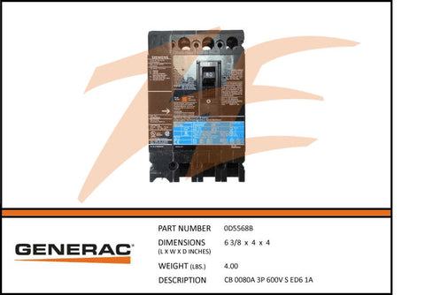 generac parts accessories page 168 ziller electric generac 0d5568b 80a 600v circuit breaker 3 phase