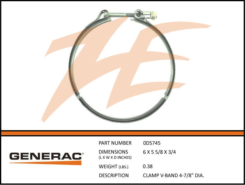 Generac 0D5745 V-Band Clamp 4-7/8""