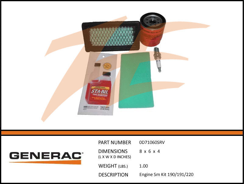 Generac 0D71060SRV Maintenance Kit 190/191/220 Engines