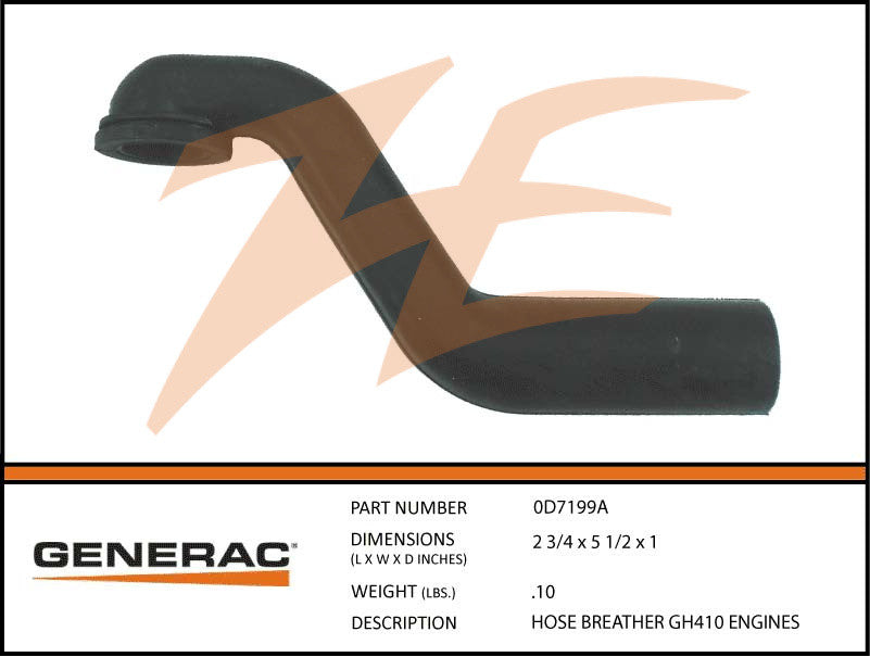 Generac 0D7199A Breather Hose 410cc Engines