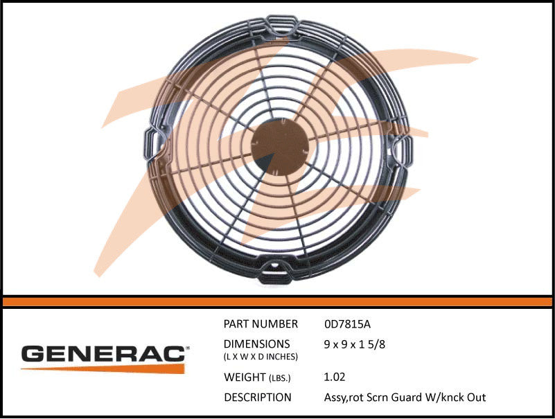 Generac 0D7815A Assembly Screen Guard w/Knock Out
