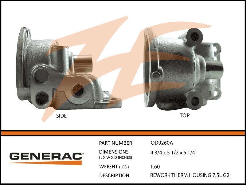 Generac 0D9260A Reworked Thermostat Housing 7.5L