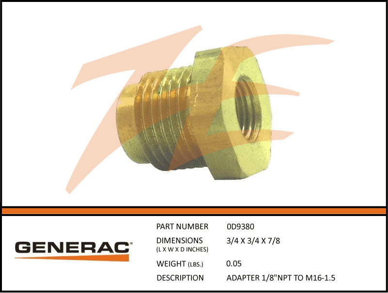 Generac 0D9380 Adapter 1/8in NPT To M16-1.5