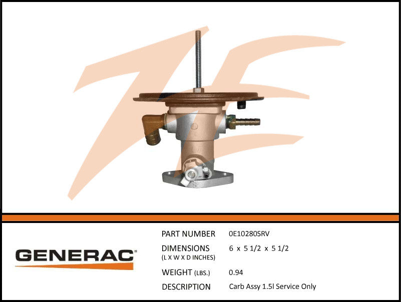 Generac 0E10280SRV Carburetor Assembly 1.5L